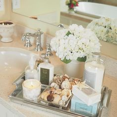 """Restroom decor - I'm running so far behind tonight and finally getting this posted After cleaning the bathrooms today, I was inspired to make my thursdaytrays post all…"""" Bathroom Counter Decor, Bathroom Spa, Downstairs Bathroom, Simple Bathroom, Bathroom Ideas, Bathroom Staging, Elegant Bathroom Decor, Bling Bathroom, Master Bathrooms"""