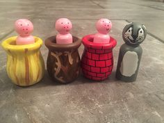 Cutest thing I've ever seen - Three Little Pigs Peg Set! Supports Adoption!
