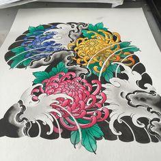 Half sleeve idea #chrysanthemum Japanese Mask Tattoo, Japanese Flower Tattoo, Japanese Tattoo Designs, Japanese Flowers, Chrysanthemum Tattoo, Fresh Tattoo, Full Body Tattoo, Traditional Japanese Tattoos, Oriental Tattoo