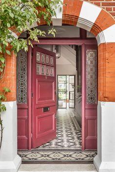 Porch Pendant Light, Pendant Lights, 1930s House Exterior, Victorian Hallway Tiles, Narrow Hallway Decorating, House Front Door, Front Doors, Front Door Design, Small House Design