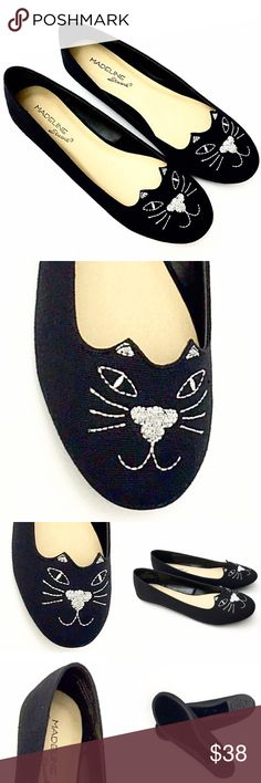 Madeline Stuart Chic Black Catty Ballet Flat-Meow! These are the cats meow- super cute! Gorgeous black fabric ballet flats that have a rounded toe with embroidered cat. Embroidered with silver sparkle thread- super fun and will add a chic style to any outfit! Purr-fect shoe to let your inner cat- meow! Brand new! Madeline Stuart Shoes Flats & Loafers
