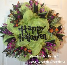Halloween Wreath Fall Wreath Deco Mesh Wreath Happy Halloween Green Deco Mesh Wreath by decowreathcreations. Explore more products on http://decowreathcreations.etsy.com