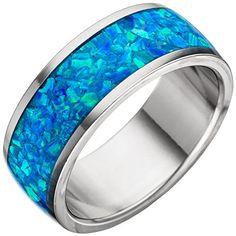 JOBO Damen Ring Edelstahl mit Opal-Einlage blau