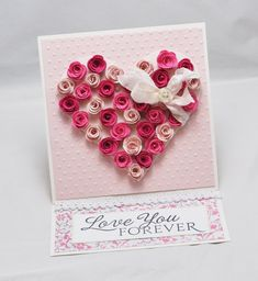 Rose Heart Easel Card With Matching Gift Box.