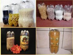free DIY storage containers - cut plastic water or soda bottles
