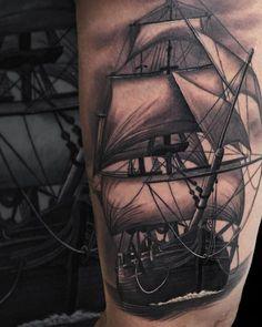 Blackwork Ship Tattoo by Jumilla Olivares