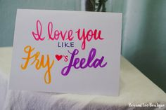 Modern Valentine | I Love You Like Fry Love's Leela, Valentine's card with envelope, valentine, love, card, quotes, handmade, Futurama, Fry