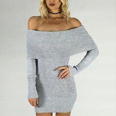 Kourtney Off the Shoulder Dress / light grey