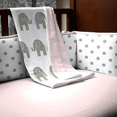 Pink and Gray Elephants Crib Blanket Carousel Designs http://www.amazon.com/dp/B00JVXYIIW/ref=cm_sw_r_pi_dp_Z8Naub0CNG9RS