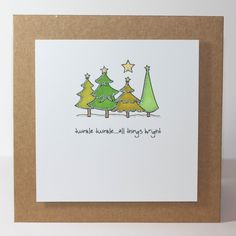 christmas tree handmade The Other Fickle Pixie: Christmas Trees Unique Christmas Cards, Homemade Christmas Cards, Christmas Cards To Make, Xmas Cards, Homemade Cards, Christmas Diy, Christmas Trees, Handmade Christmas, Watercolor Christmas Cards