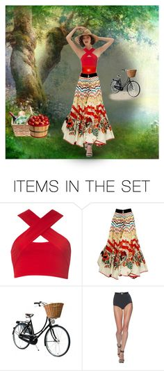 """""""LONG PRINTED SKIRT - PIC NIC"""" by kmaryk ❤ liked on Polyvore featuring art and AmiciMei"""