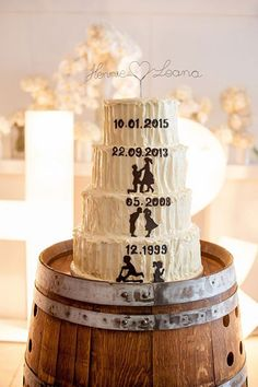 Personalize a rustic buttercream cake with each tier telling a different chapter of your love story.Related: Steal-Worthy Wedding Cake Designs
