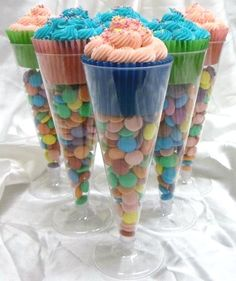 CUPCAKES IN DOLLAR STORE CHAMPAGNE FLUTES…