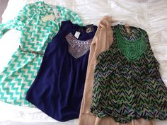 Stitch Fix - LOVE the colors and patterns I see here, except for the beige cardi, I don't wear beige.  But I still need a cardi :)  Especially like the chevron tunic and blue tank.