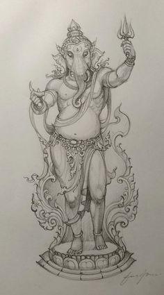Shiva Art, Ganesha Art, Krishna Art, Ganesha Tattoo Lotus, Lotus Tattoo, Lord Ganesha Paintings, Lord Vishnu Wallpapers, India Art, Indian Art Paintings