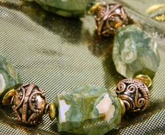 Chunky Rhyolite Gem Stone and Pure Copper Bead Bracelet Hook Clasp $85.00 EclecticOddities - Jewelry on ArtFire
