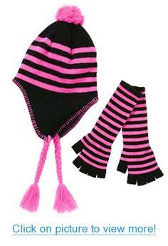 Girls Neon Fuchsia Stripe Hat $ Fingerless Glove Set #Girls #Neon #Fuchsia #Stripe #Hat # #Fingerless #Glove #Set