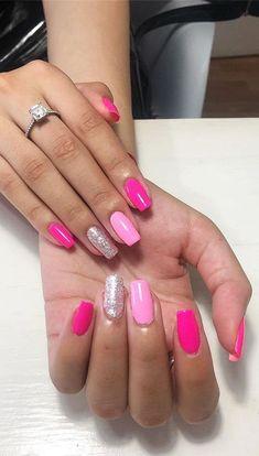 Valentine's Day Nail Designs, Colorful Nail Designs, Simple Nail Designs, Nails Design, Coral Nail Designs, Neon Nails, Cute Acrylic Nails, Dark Pink Nails, Cheetah Nails
