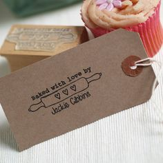 'Baked With Love' Rolling Pin Rubber Stamp by Pretty Rubber Stamps, the perfect gift for Explore more unique gifts in our curated marketplace. Jar Design, Bakery Design, Wood Stamp, Bakery Cakes, Ink Pads, Resin Crafts, Rolling Pin, Diy Paper, Personalized Gifts