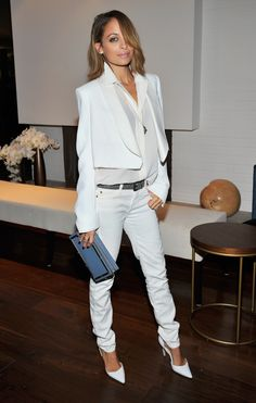 Celebrity Street Style: The 10 Most Stylish Stars - Nicole Richie | Wearing an all white Chloé ensemble, cropped jacket, white jeans + pointy white heels | StyleCaster