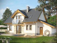 KOLIA - projekt domu z otwartą kuchnią i garażem z jednospadowym dachem. Studio Krajobrazy. 2 Storey House Design, Home Fashion, Shed, Outdoor Structures, Cabin, Mansions, House Styles, Studio, Home Decor