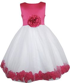 Sunny Fashion Little Girls Dress Rose Flower Tulle Pageant Bridesmaid 45 ** Check out this great product.