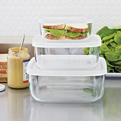 Storage Container Set 20 usd Clear glass Foodsafe BPA-free polypropylene lid Hygienic stain- and scratch-resistant Containers are dishwasher- and ... & 481 best Kitchen Storage Containers images on Pinterest | Cooking ...