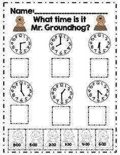 First Grade Groundhog Day Math Adventures *Common Core Aligned* First Grade Classroom, 1st Grade Math, Math Classroom, Kindergarten Math, Second Grade, Grade 1, Classroom Ideas, Teaching Time, Student Teaching