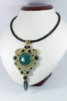 Soutache gold green pendant..