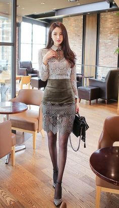 2 Piece Set Women Suit Summer Office Gray Lace Blouse Shirt Tops and ArmyGreen Pencil Mini Skirts Crop Top and Skirt Vestidos Mode Outfits, Fashion Outfits, 80s Fashion, Suits For Women, Clothes For Women, Fit Women, Modelos Fashion, Business Dresses, Beautiful Asian Women