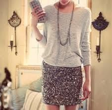 how to wear a sequin skirt