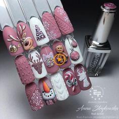Nail Art Noel, Xmas Nail Art, Cute Christmas Nails, Christmas Nail Art Designs, Xmas Nails, Holiday Nail Art, Glitter Nail Art, Diy Nails, Cute Nails