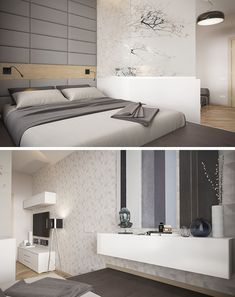 SMALL BEDROOM DESIGN IDEA - If you have a living area and bedroom sharing the same space, raise the bed up onto a platform and create a partial wall to clearly define the bedroom and living areas.