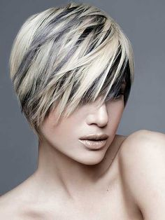 Black Hair with Blonde Highlights: Stylish Short Haircut Short Punk Haircuts, Layered Haircuts For Women, Short Hair Cuts For Women, Short Hair Styles, Natural Hair Styles, Layered Hairstyles, Pixie Haircuts, Short Cuts, Blonde Haircuts