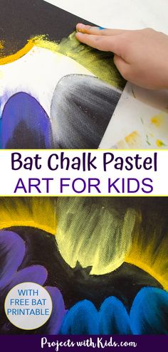This bat chalk pastel art is a fun and easy Halloween project idea that kids will love! Use just a few simple supplies and an easy chalk pastel technique that kids of all ages can do. Click for your bat printable. Halloween Craft Activities, Fun Halloween Games, Halloween Art Projects, Halloween Decorations For Kids, Clay Art Projects, Art Activities For Kids, Halloween Crafts For Kids, Preschool Art, Projects For Kids