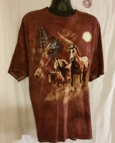 Wild Horses American Flag Tee Shirt Size 3XL artist Tami Alba #Delta #GraphicTee
