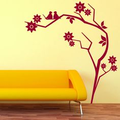 Retro Branch Mural Wall Decal (24in x 27in )