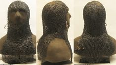 European demi riveted mail coif, found intact in the tower room of Tofta Church, a medieval Lutheran church on the Swedish island of Gotland Sweden. The hood is unique in that it is exceptionally well preserved, and because it has original leather straps. The hood has been carbon 14 dated to the 1200s, conservation was commissioned in 2007 to preserve, assemble and analyze the hood, the work was completed in Dec 2008 and the hood was put on exhibit in Tofta church in Jan 2009, restored view…
