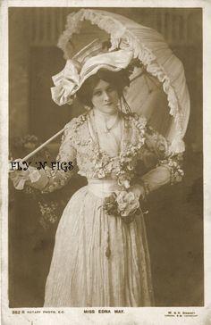 Edna May Parasol Theatre Rotary No 352 Antique Real Photo Postcard C1910 | eBay