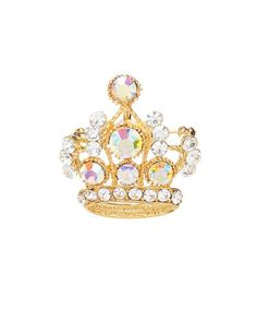 Loving this Czech Crystal & Goldtone Crown Brooch on #zulily! #zulilyfinds