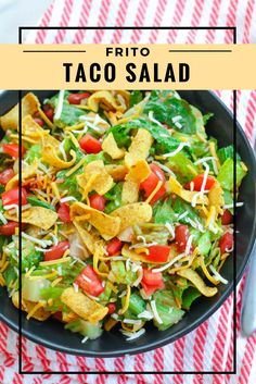 Jazz up your regular dinner salad with a delicious, southern Frito Taco Salad! Crunchy romaine, fresh tomatoes, kidney beans, cheddar cheese, Catalina dressing and of course… Fritos!