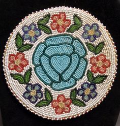 Old 5 75 inch Nez Perce Native Indian Beaded Floral Pattern Disk Good Condition   eBay