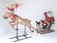 SANTA ON SLEIGH WITH REINDEER CHRISTMAS DECOR STATUE