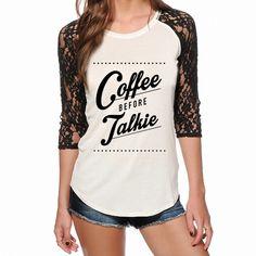 Coffee Before Talkie Lace Raglan Top by Katydid - PRE ORDER for 2/15 SHIP
