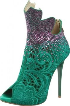 Gianmarco Lorenzi amazing teal and purple paisley heels. Would be perfect for parties!