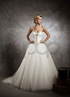 Ruched French Tulle Ball Gown Wedding Dress