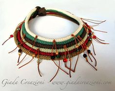 ethnic tribal collar necklace cotton