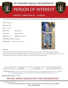 CREDIT CARD FRAUD: If you have any info about this suspect or case, contact Det. Stallings at (678) 382-6921 or anthony.stallings@dunwoodyga.gov (LS) #dunwoodypolice