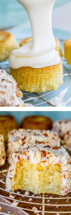 Why don& we frost cupcakes upside down get double the frosting? These Upside Down Almond Cupcakes are so moist, so almond-y, and have the perfect crunch! Almond Cupcakes, Yummy Cupcakes, Frost Cupcakes, Cupcake Recipes, Baking Recipes, Cupcake Cakes, Dessert Recipes, Just Desserts, Delicious Desserts