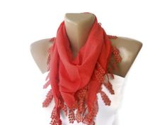 red cotton scarf  2013 fashion scarf trend  spring summer by seno, $15.00